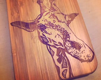 Giraffe Bamboo Wood Engraved Phone Case for iPhone 5/6/7 Samsung S5/S6/S7/S8