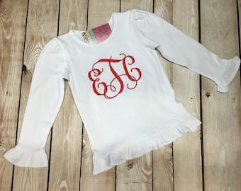 Girls Monogram Shirt, Girls Long Sleeve Monogram Shirt, Girls Large Embroidered Monogram Shirt, Girls Personalized Shirt, Girls Custom Shirt