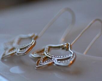 Silver flower earrings, silver bridal earrings, 925 silver earrings, silver filigree earrings, statement earrings silver, boho chic earrings