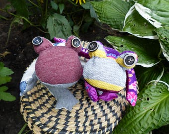 Cuddly frogs made from soft recycled materials, free shipping.