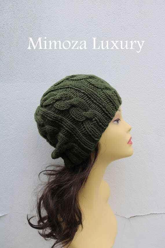 Olive Green women's Beanie hat, Hand Knitted Hat in olive green beanie hat, knitted men's, women's beanie hat, winter beanie, green ski hat