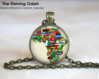 AFRICA FLAGS Pendant • Map Of Africa's Flags • Vintage African Flags • Old Map of Africa • Gift Under 20 • Made in Australia  (P1437)