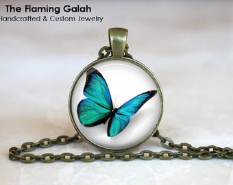 BUTTERFLY Pendant •Turquoise Butterfly • Green Butterfly • Beautiful Butterfly • Butterfly Art • Gift Under 20 • Made in Australia (P1463)
