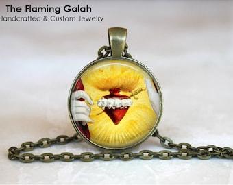 SACRED HEART Pendant •  Sacre Coeur •  Flaming Heart •  Jesus Christ •  Catholic •  Christian Jewelry •  Made in Australia (P11488)
