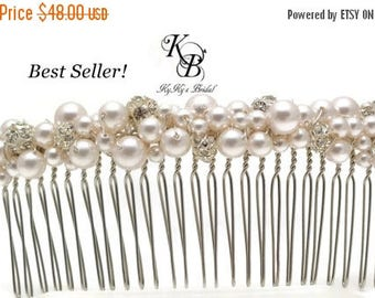 Pearl and Rhinestone Hair Comb, Large Hair Comb, Bridal Hair Comb, Bridal Hair Accessory, Long Hair Comb, Bridal Hair Accessories, Wedding