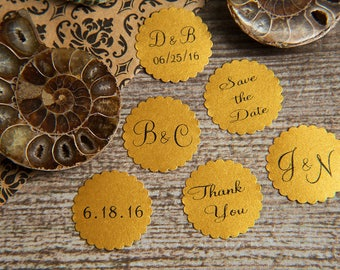 300 Old Gold Save the Date, Printed Envelope seals, wedding stickers invitations. Scalloped Round Favour stickers. Matt Pearlised shimmer