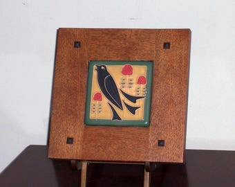 Framed Arts and Crafts Tile-Mission Style Frame-Song Bird Among the Roses-Home Sweet Home-House Warming Gift-Craftsman-Art Tile
