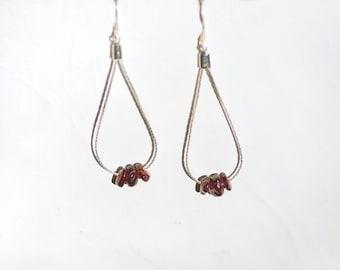 Boucles d oreilles et chaînes plaquées ' argent pierres semi-précieuses grenats (0) _ bijou, minimalist nature, bohème _ cadeau