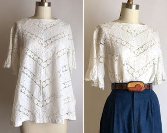 1950s lace eyelet cover up ~ vintage cotton open blouse
