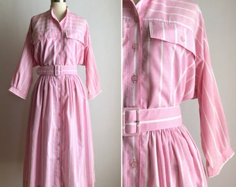 vintage fit and flare dress M ~ 80s pink striped dress