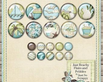 On Sale 50% Just Beachy Digital Scrapbook Kit Flairs - Digital Scrapbooking