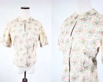 1960's Peter Pan Ditsy Floral Cotton Short-sleeve Cropped Blouse