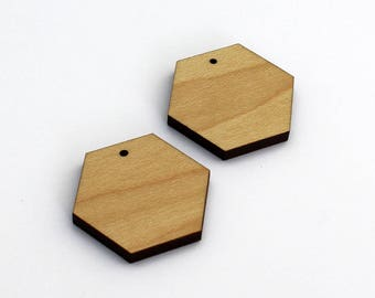 2 Hexagon Blank Beads : Maple