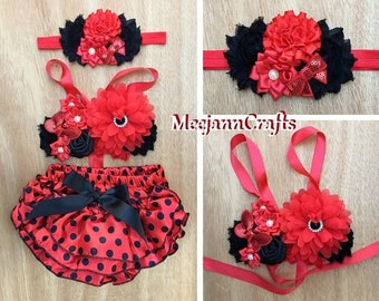 Black and Red Babies/Toddler Outfit.  Cake Smash Outfit. Photography Props Outfit. Spring Summer Outfit.