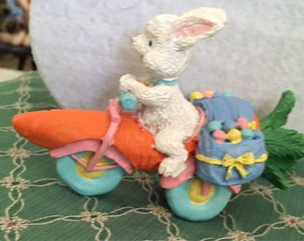Wonderful Easter bunny on his motorcycle