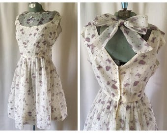 Early 60's butterfly crepe party dress | Small/medium