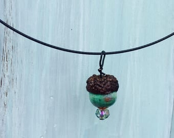 Handmade clay acorn choker necklaces. Beautiful colors on a steel choker