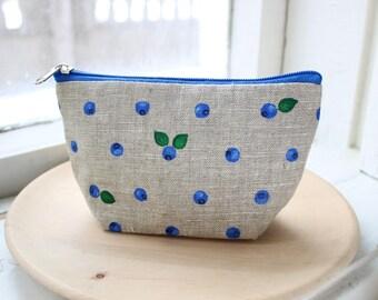 Makeup bag Blueberry makeup bag Beige makeup bag Linen cosmetic bag Linen pouch Toiletries Bag Makeup Organizers Girlfriend Gift For girl