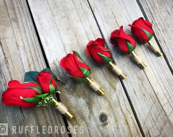 Red Rose Boutonniere, Rose Boutonniere, Bullet Boutonniere, Rustic Boutonniere