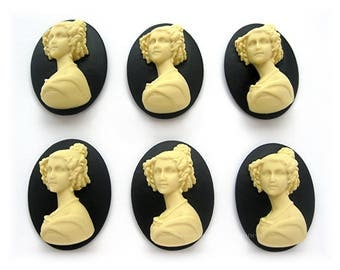 6 Ivory Color on Black Background French Victorian Lady w/ Ringlets Cameo 40mm x 30mm Resin Unset Cameos for Making Costume Jewelry Crafts