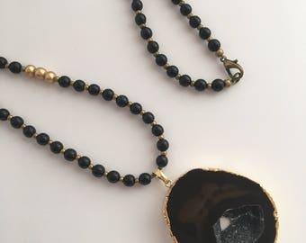 Black Agate Pendant Necklace, Pendant Necklace, Long Boho Necklace, Gemstone Necklace