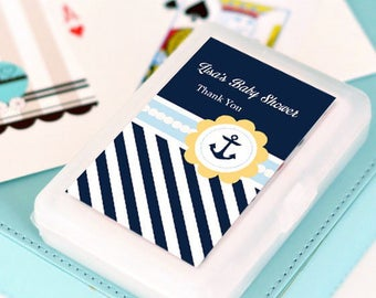 Nautical Baby Shower Personalized Playing Cards, (Set of 24)