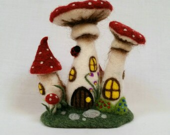 Toadstool Fairy House. OOAK Needle Felted fairy house. Felt Toadstools, Fairies, Fae, Felted Fairy House. Fairy Cottage. Fairy Houses