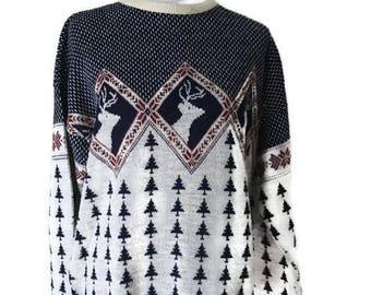 Oversize Nordic reindeer VINTAGE pullover sweater