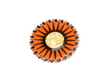 Geometric brooch, orange brooch, brooch for scarf or coat, star brooch, gift for her, paper brooch, first anniversary gift, flower brooch