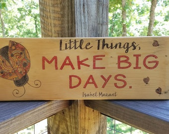 Rustic, Country, Natural Wood Ladybug Sign with Quote
