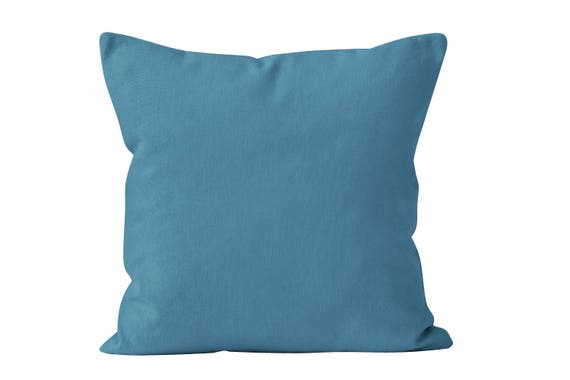 Azure Blue Throw Pillow Cover Solid Blue Accent Pillow Cover