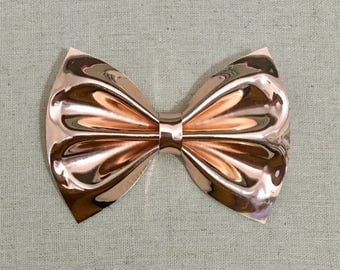 Rose Gold Mirror Vinyl Faux Leather Bow Tie, Rose Gold Hair Bow, Hair Bow