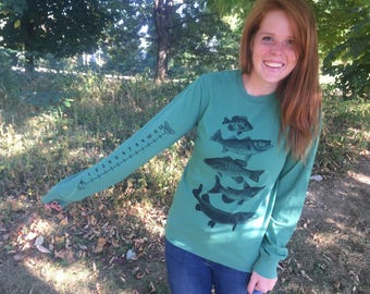 Fish (fishing) Crewneck Sweatshirt With Ruler To Measure Fish