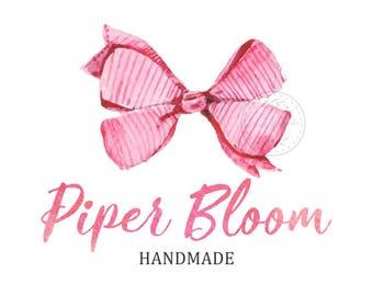 Premade Logo Bow Ribbon Pink Girls Hair Accessories Clothes Handmade Custom Shop Logo Business Card Branding Design Wedding Signs LD272