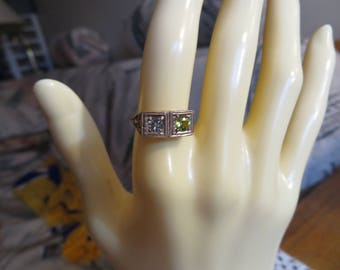 Art Deco  .50ctw Genuine Peridot & Blue Topaz 14KT Rose Gold over Sterling Silver 925 Size 5, Wt. 1.6 Grams