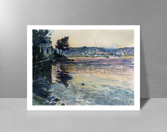 Villefranche view of the Chapel, summer night - original watercolor painting