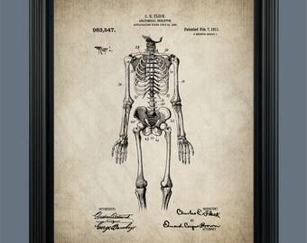 Vintage Human Anatomy Medical Poster - Skeleton Patent Print - Skeleton Poster - Medical Skeleton - Doctors Office Decor - Bones - #135