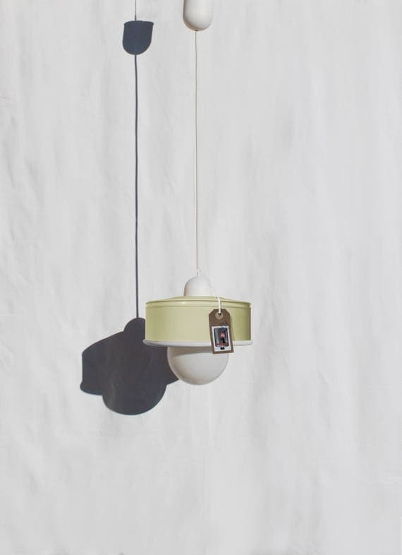 Hanging / pendant / ceiling lamp,  pastel yellow... eco friendly-handmade :recycled from coffee can !LED light bulb included! also US and UK