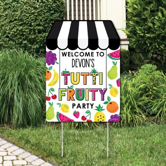 Tutti Fruity Welcome Sign Frutti Summer Birthday Or Baby Shower Outdoor Lawn Decorations Two