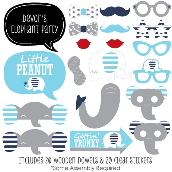 Blue Elephant Photobooth Kit With Custom Talk Bubble For Boy