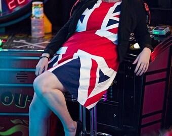 Plus size Twiggy Inspired London Calling Union Jack Dress