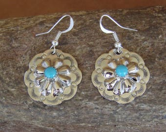 Navajo handmade Sterling Silver & Sleeping Beauty Turquoise Repousse Concho Earrings