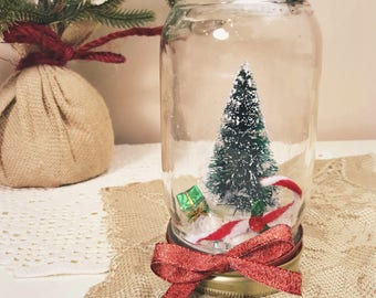 vintage shabby chic holiday decor mason jar dry waterless snow globe bottlebrush christmas tree - Rustic Elegant Christmas Decor