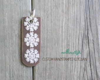 CUSTOM HANDSTAMPED brown leather keychain with stitching by mothercuffer