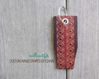 CUSTOM HANDSTAMPED brown leather keychain by mothercuffer