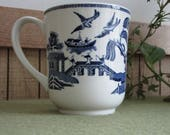 Blue Willow Coffee Mug Johnson Bros. Vintage Mugs Blue and White Mid-Century Drink Ware Willow Ware Dinnerware Chinoiserie Coffee Cups