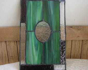 Green Stain Glass Panel Geometric Squares and Circles Industrial Salvage Rustic Home Décor Stained-Glass Window Panels