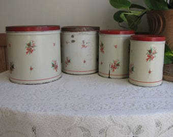 National Can Empeco Canisters Set of Four (4) Metal Rustic Vintage Kitchen Storage and Tins
