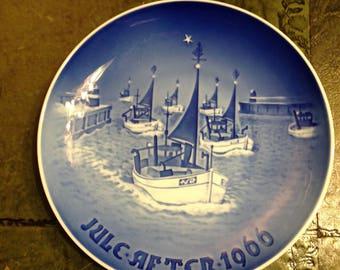 B & G Porcelain Copenhagen Denmark 1966 - Quayside Flotilla - Vintage Collectible Plate