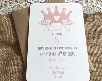 Princess Crown Birthday Baby Shower Hen do Invitations pack of 10